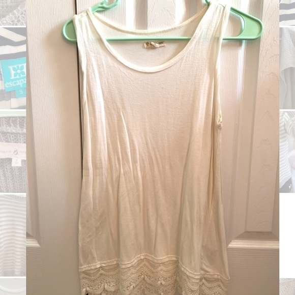 Tucker + Tate Tops - Nordstrom White Lace Trim Tank Top